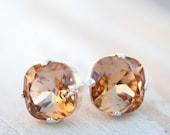 champagne earrings,bridal earrings,bridesmaid earrings,bridesmaid gift,stud earrings,silver earrings,stud earrings,swarovski crystal