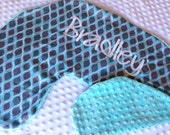 Boppy Pillow Cover- Personalized Boppy Cover- Pastel Pop Print and Aqua Minky Boppy Cover with Optional Navy Blue Name Embroidered