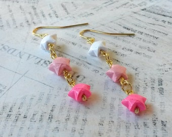 Ombre Mini Origami Lucky Star Earrings // Pink Ombre