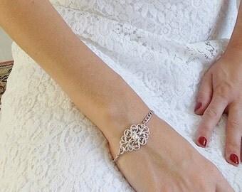 Silver Bridal Bracelet - Wedding Bracelet - Wedding bracelet - Bridal Jewelry - Pearl Bridal Bracelet - Silver filigree bracelet