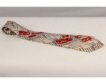 Vintage necktie / Novelty print tie / 1940s wide tie / Lascaux cave paintings