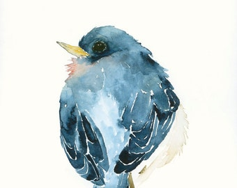 Bird Art Print from Original Watercolor Blue Bird