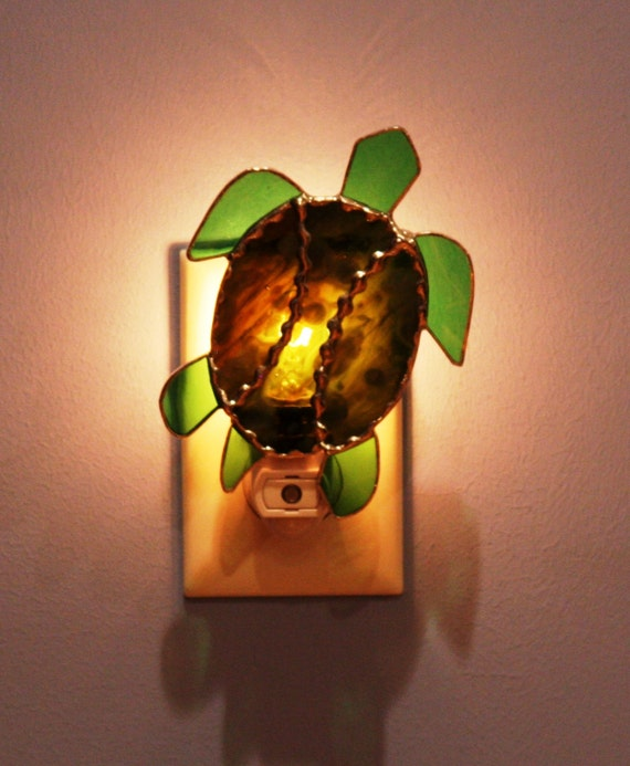 Stained glass green turtle light sensor night light - Turtle nite light ...