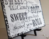 Sign Candy Bar Buffet Wedding Reception Candy Station - Sweet You Rock in Black & White