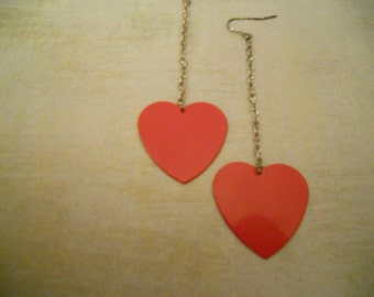 Vintage Classic Red Heart Metal Earrings - Simple Elegance for Christmas thru Valentines Day