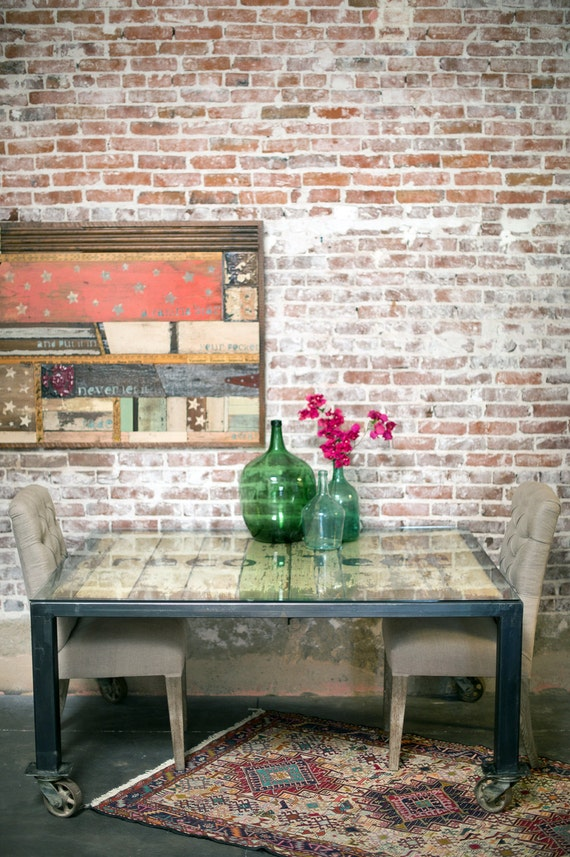 Vintage Industrial Dining Table Barn Door Kitchen Table Urban
