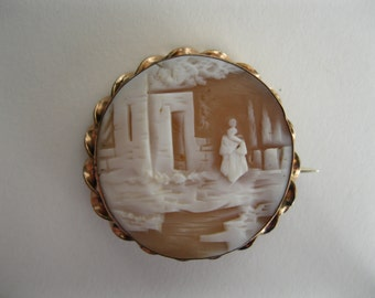 Antique 1800s Scenic Cameo Brooch - Rebecca At The Well - Georgian Victorian