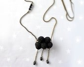 Winter Necklace crochet black Cloud with raindrop. Christmas gift