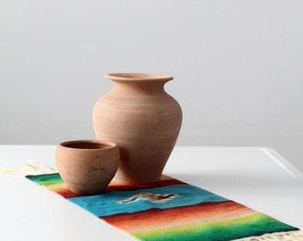 southwestern table mat, vintage Mexican serape style textile