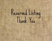 Reserved Listing JENNY