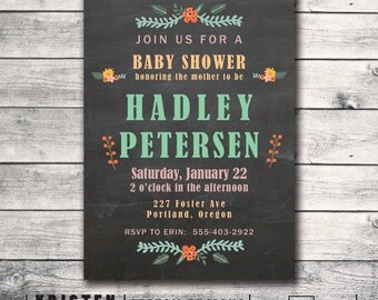 Chalkboard Baby Shower Invitation with rustic floral accents - Print Order Deposit or Digital File Setup for DIY Printing