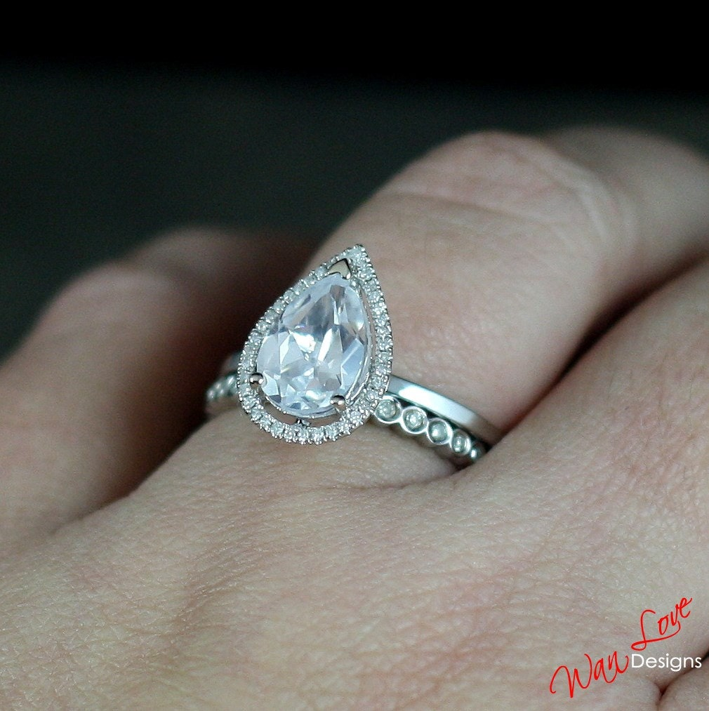 neo moissanite diamond pear halo engagement ring set circle. Black Bedroom Furniture Sets. Home Design Ideas