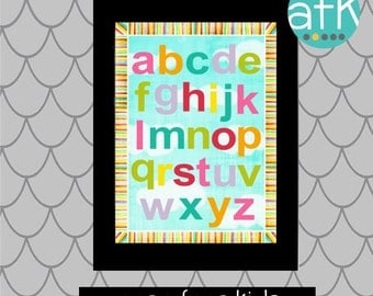 COLORFUL ABC Nursery Art print for Girls or Boys...