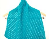 Angora scarf, Lace scarf, Hand Knit scarf, Turquoise Scarf, Wool Scarf, Lace Muffler