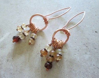 Copper Hoop Earrings with Hessonite, Citrine, and Carnelian - Dangle Earrings - Hammered Copper and Hessonite Dangle Earrings
