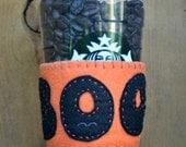 SALE 25% OFF BOO! Halloween Bright Orange & Black Felt Cup Cozy