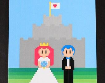 Video Game Wedding Invitation - Postcard Style, 8-bit Wedding Invitation, Nerd Wedding Invitation, Recycled Paper, Organic Ink