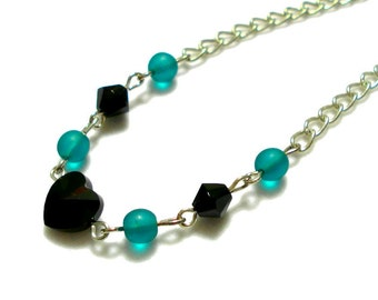 Black Heart Necklace, Heart Jewelry, Green And Black Necklace Jewelry, Black And Green Beaded Necklace