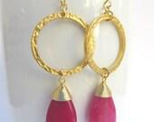 Gold Hoop Earrings with Fuchsia Teardrop. Hot Pink Jade. Pink Earrings. Gemstone Earrings.Fuchsia Earrings.Statement Earrings.Round Earrings
