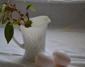 Small White Milk Glass Cut Glass Pitcher