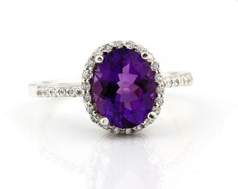Natural Purple Amethyst   Solid 14K White Gold Diamond engagement Ring Gem11