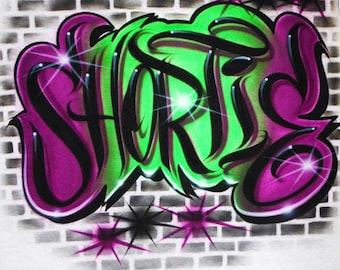 Airbrush T Shirt Graffiti Style Name Bricks Background, Airbrush Grafitti Name, Airbrush Graffiti Name, Graffiti Shirt, Airbrush Shirt