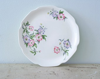 Lovely Serving Round Plate with Pink and Purple Flowers