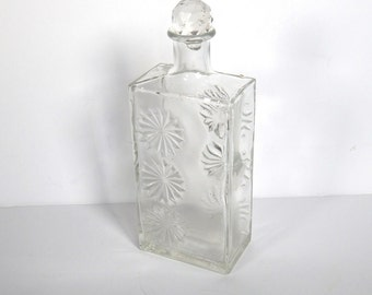 Vintage Glass Liquor Bottle - Atomic Bottle - Star Bottle - Starburst - Crystal Stopper