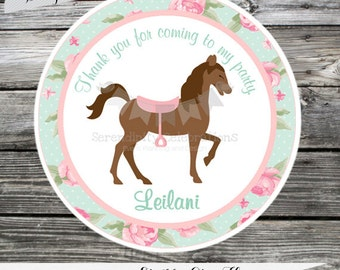 Set of 12 Personalized Favor Tags -Shabby Chic Horse- Roses-Chevron-Thank You Tag -Gift Tag -Baby Shower -Birthday-Sticker-Pony