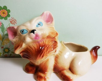 Fluffy Cat Planter -  Vintage 1950's - American Bisque Art Pottery