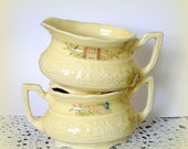 Small Vintage Sugar Bowl & Creamer Mini Oval Shape Light Yellow Color Child's Tea Party Accessories
