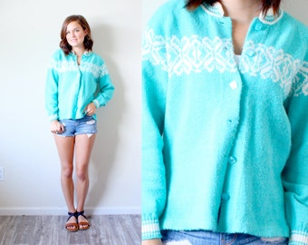 Vintage SMALL // Turquoise boho navajo floral sweater // floral cardigan// light blue sweater // cardigan