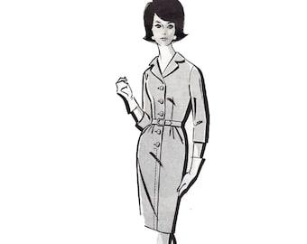Vintage Mail Order Sewing Pattern 422 1-422 Coat shirt dress button front Size 16 Bust 36 1960s Misses Ladies Uncut