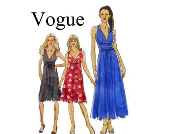 Vogue 8386 Dress lapped bodice gathered full skirt Sizes 6 8 10 12 Bust 30 1/2-34 UNCUT OOP Sewing Pattern