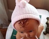 Now on Sale, Snow Bunny Pink Rabbit Ear Baby Bonnet