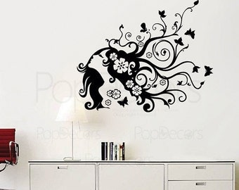 Flower Decals Floral Wall Decal Girl Room Decal Living Room Wall Decals- Flower Girl (39 inch W) - Lady Girl Wall Art PT-0066
