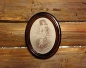 Antique Oval Frame Mahogany Wooden Frame Portrait frame with Victorian Photograph