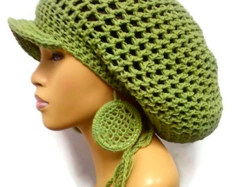 MADE TO ORDER Sage Green Slouch hat, Tam, Dreadlock hat with brim and drawstring free crochet earrings 100% Cotton