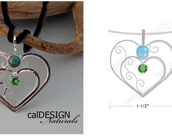 Artisan Made Mother's Necklace, Filigree Heart Pendant: Sterling Silver, Custom, Birthstone - Valentine's Day and Mother's Day, Anniversary