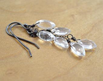 Crystal Quartz & Oxidized Sterling Silver Dangle Earrings - Clear Quartz Dew Drop Trios Wire Wrapped in Darkly Oxidized Sterling Silver