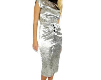 Vintage 80s NOS Metallic Silver and Black Velvet Modern Abstract Dress, Size S-M, Small-Medium