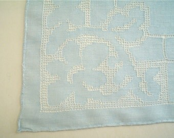 Blue Linen Hankie with Drawn Thread Embroidery Vintage Handkerchief