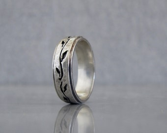 wedding band for men mens leaf wedding band sterling silver wedding band for him - Leaf Wedding Ring
