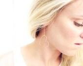 Heart Earrings - Rose Gold fill. Heart hoops, long heart earrings, heart drop earrings, rose gold, minimalist jewelry, delicate dainty