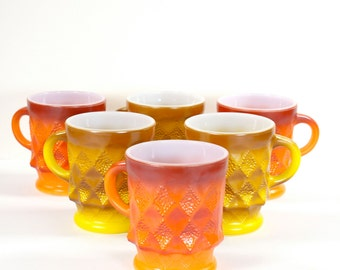 Fire King Kimberly Mugs Set of 6 Vintage 1960s Milk Glass VTG Mid Century