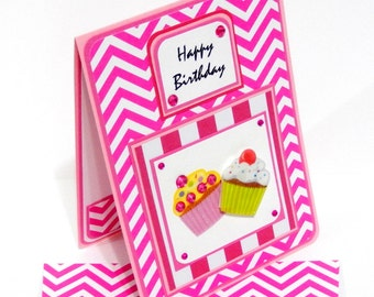 Pink Chevron Birthday Card with Matching Embellished Envelope