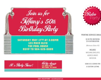Retro Diner 5x7 Invitation - Party Printable Decorations - PERSONALIZED
