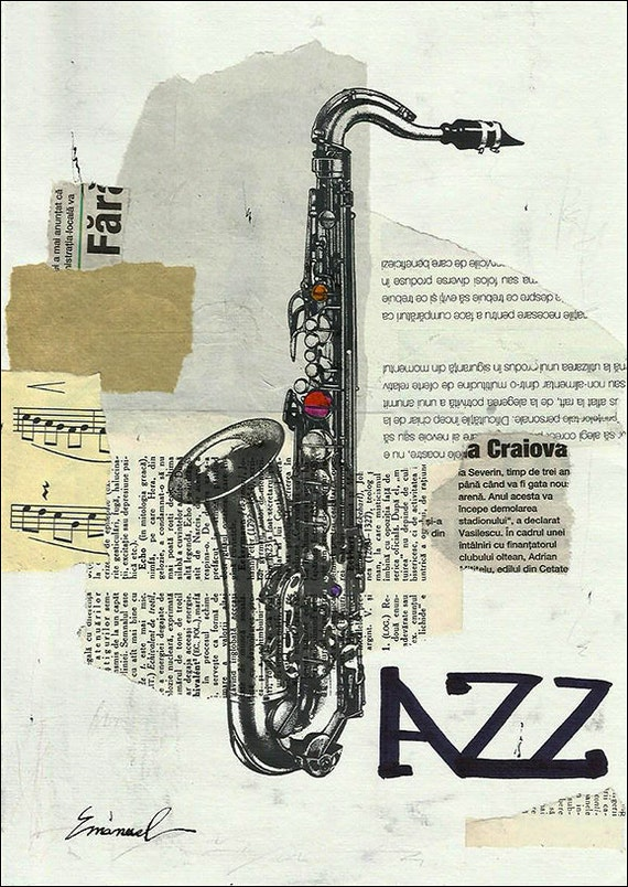 ART PRINT Christmas gift canvas autographed signed Reproduction Illustration Saxophone Jazz Music Mixed media collage Mirel E.Ologeanu