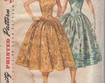 Bust 32-1950's Misses' Dress Simplicity 1539 Size 14