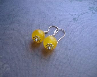 Clearance Jade Earrings - Yellow Jade Sterling Silver Earrings - Clearance Sale